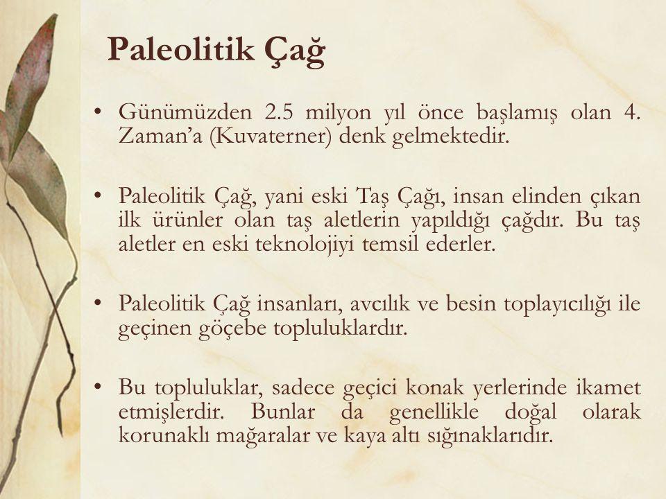 Paleolitik Çağ Günümüzden 2.5 milyon yıl önce başlamış olan 4. Zaman'a (Kuvaterner) denk gelmektedir.