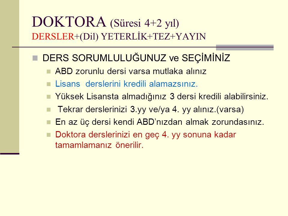 DOKTORA (Süresi 4+2 yıl) DERSLER+(Dil) YETERLİK+TEZ+YAYIN