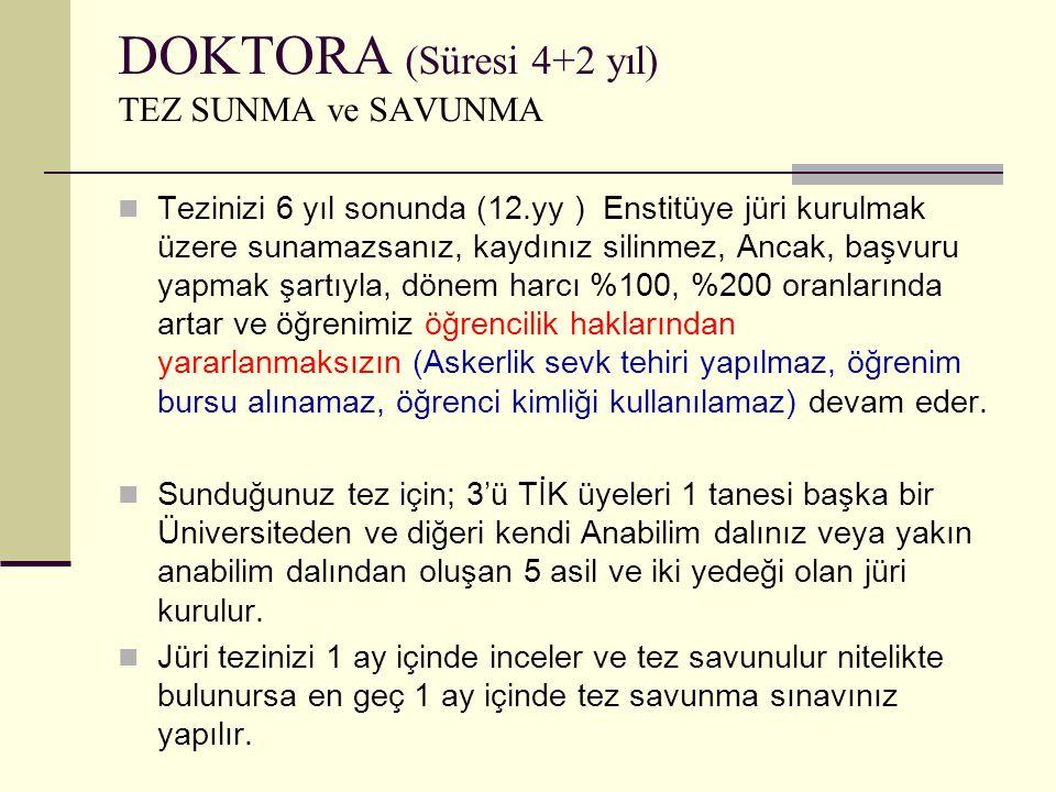 DOKTORA (Süresi 4+2 yıl) TEZ SUNMA ve SAVUNMA