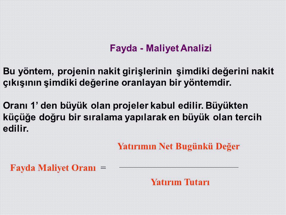 Fayda - Maliyet Analizi