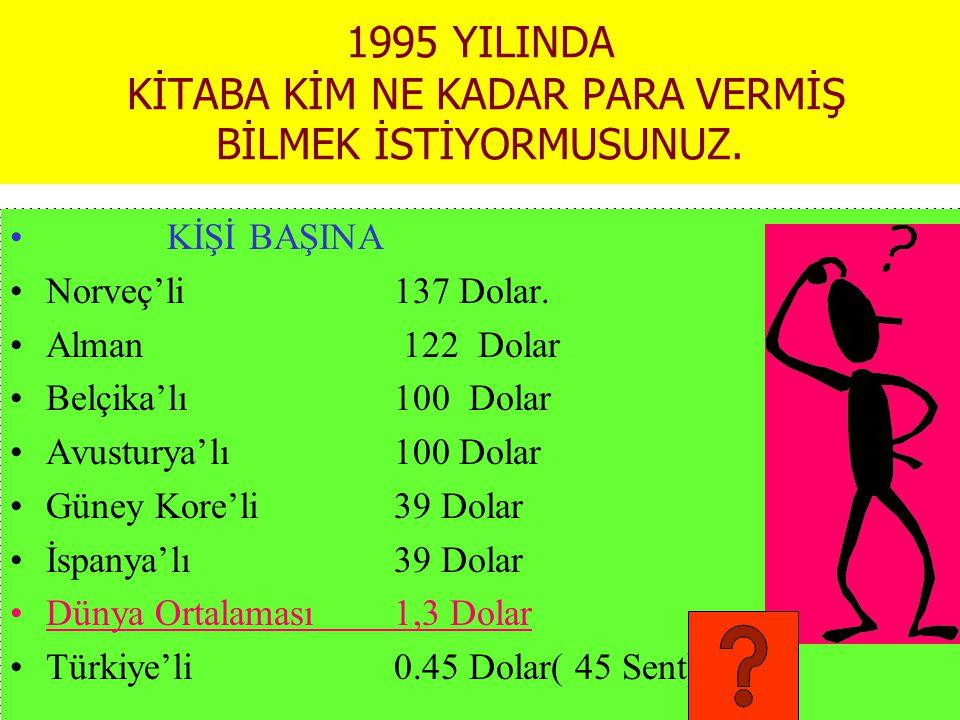 1995 YILINDA KİTABA KİM NE KADAR PARA VERMİŞ BİLMEK İSTİYORMUSUNUZ.