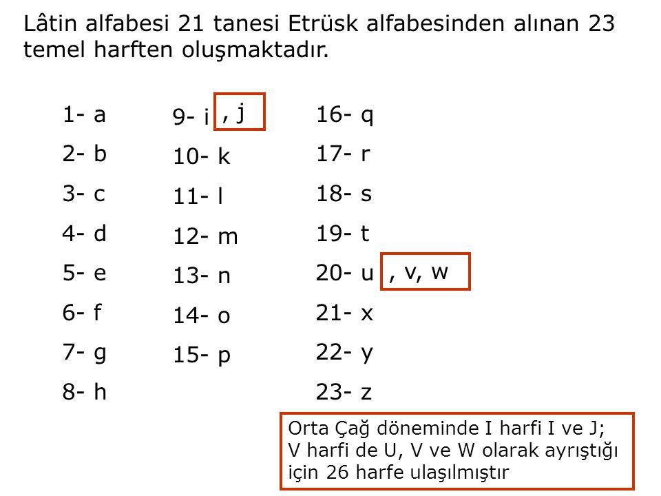 Lâtin alfabesi 21 tanesi Etrüsk alfabesinden alınan 23 temel harften oluşmaktadır.