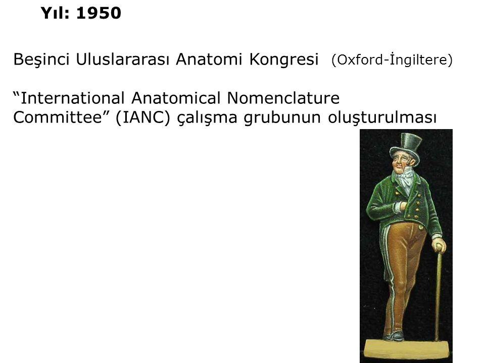 Yıl: 1950 Beşinci Uluslararası Anatomi Kongresi (Oxford-İngiltere) International Anatomical Nomenclature.