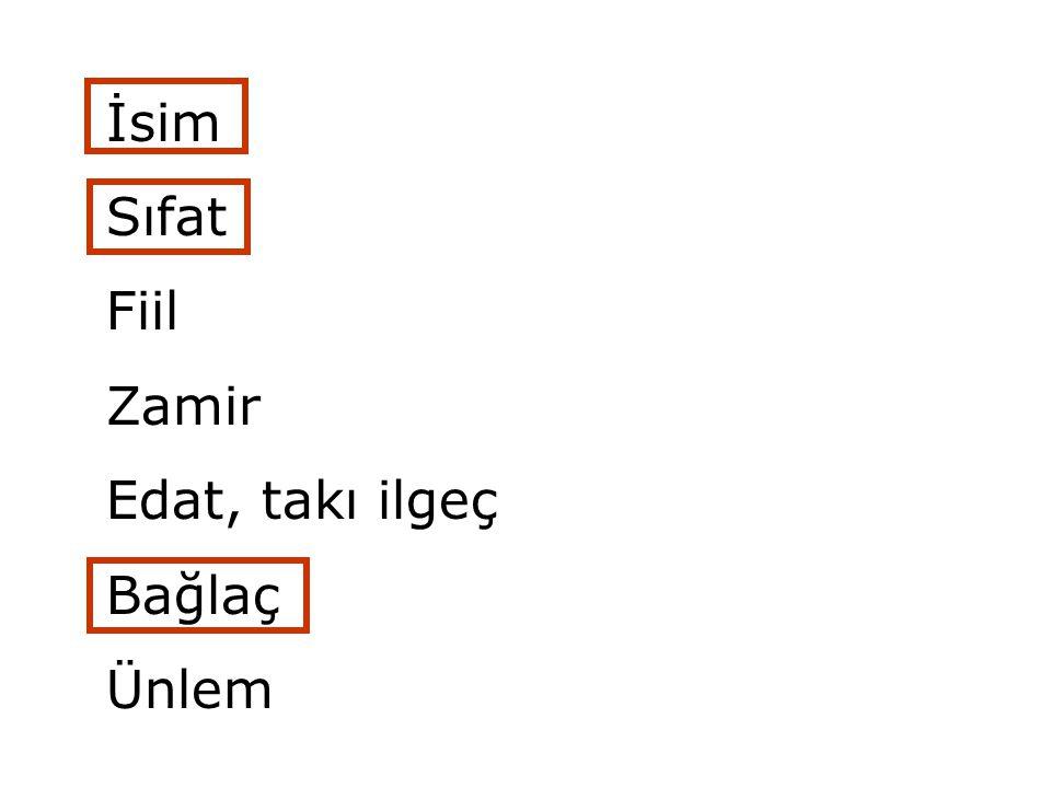 İsim Sıfat Fiil Zamir Edat, takı ilgeç Bağlaç Ünlem