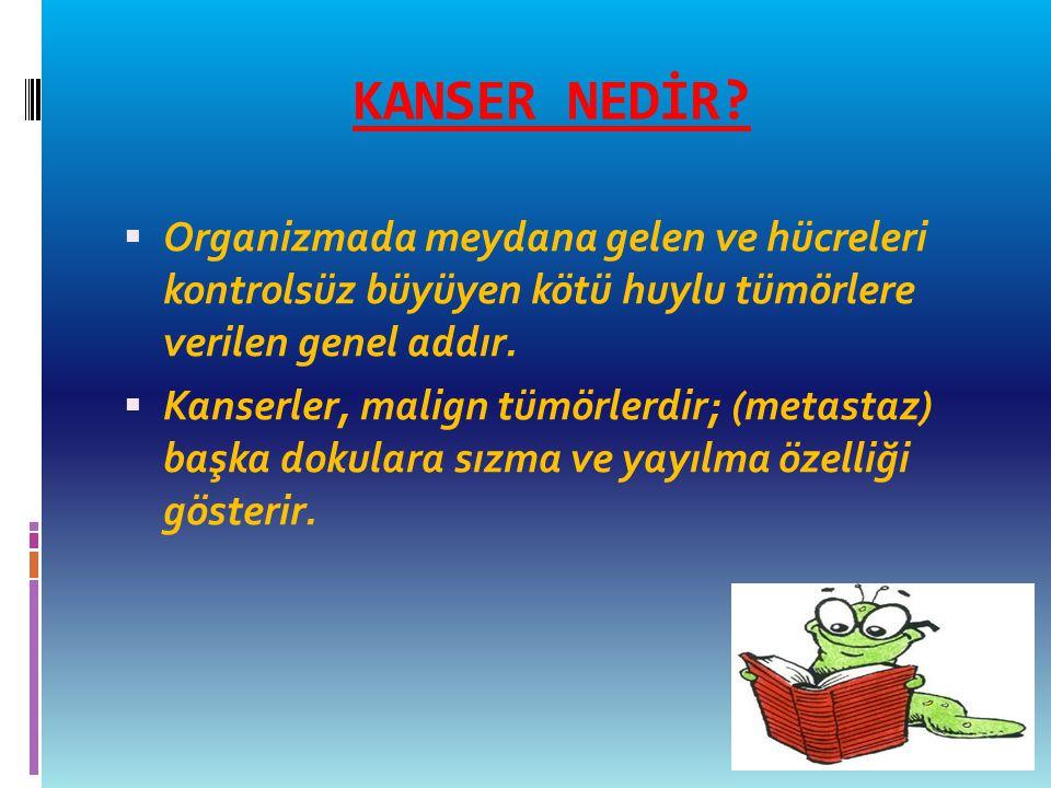 KANSER NEDİR Organizmada meydana gelen ve hücreleri kontrolsüz büyüyen kötü huylu tümörlere verilen genel addır.