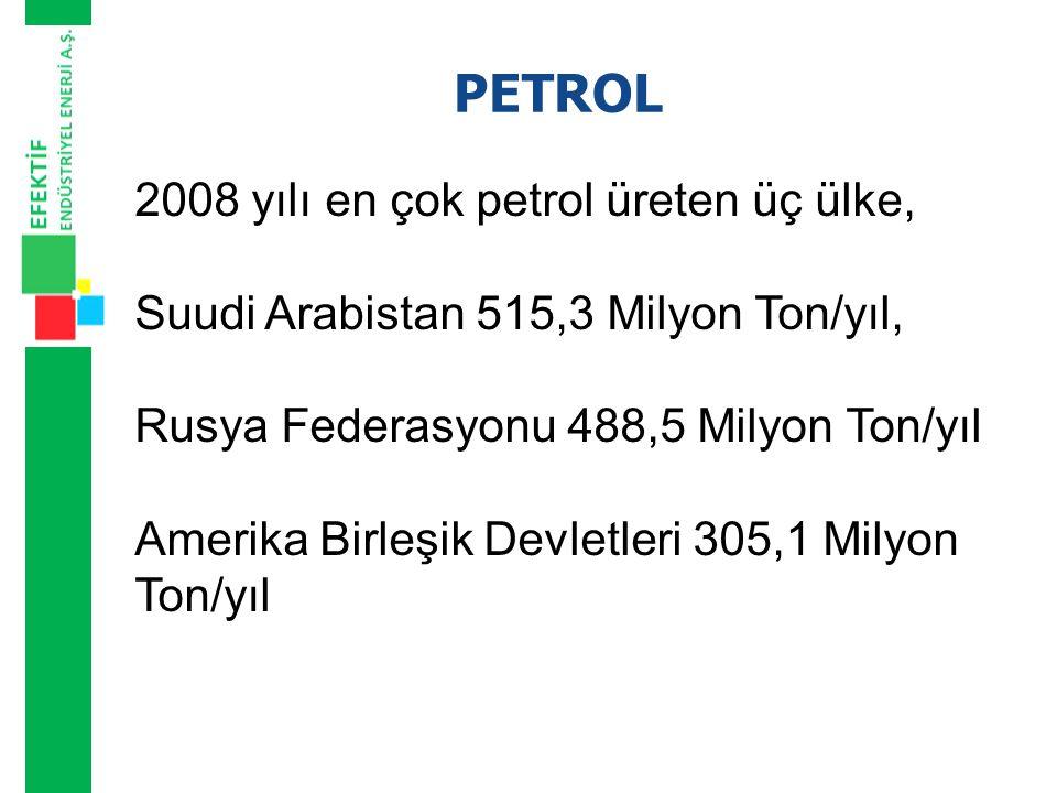 PETROL 2008 yılı en çok petrol üreten üç ülke,