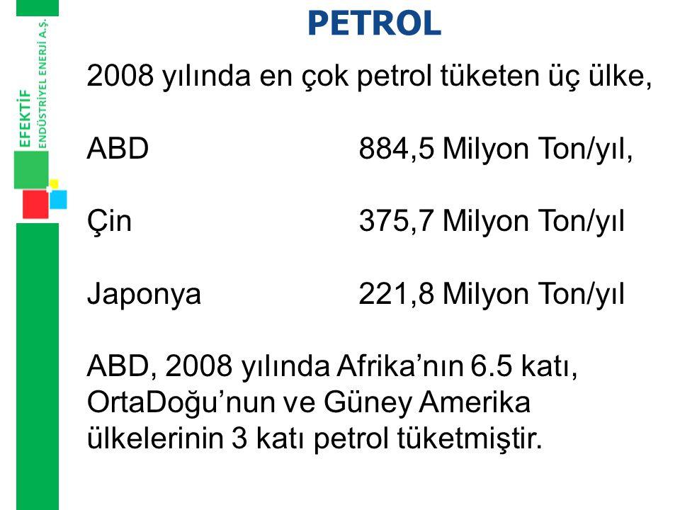 PETROL 2008 yılında en çok petrol tüketen üç ülke,