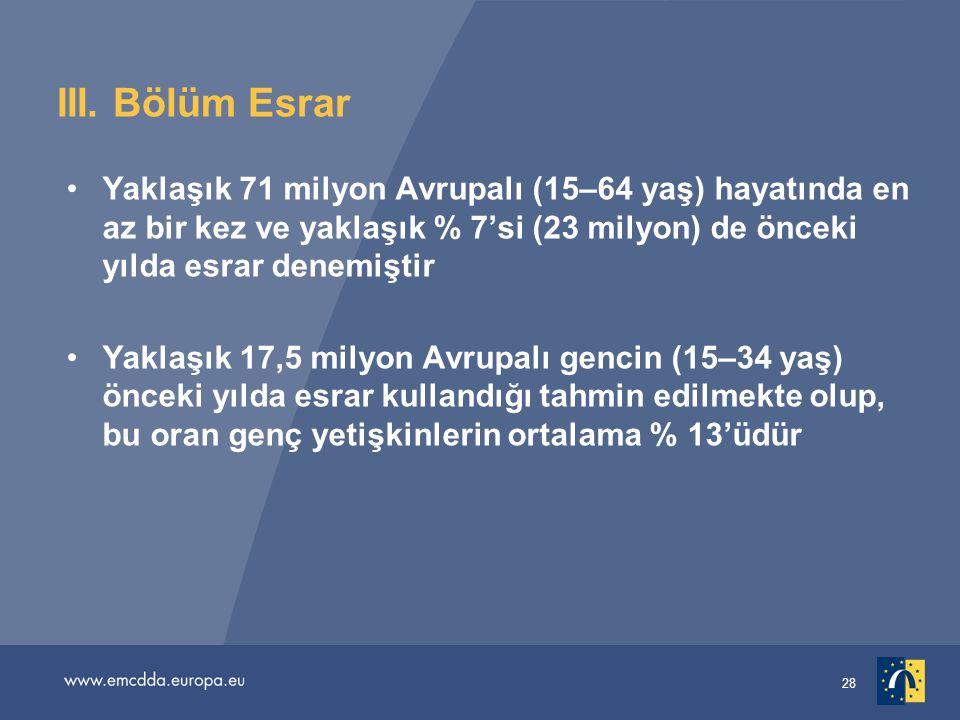 III. Bölüm Esrar Yaklaşık 71 milyon Avrupalı (15–64 yaş) hayatında en az bir kez ve yaklaşık % 7'si (23 milyon) de önceki yılda esrar denemiştir.