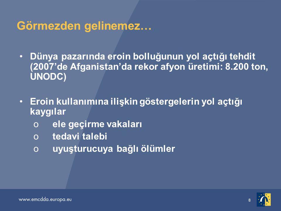 Görmezden gelinemez… Dünya pazarında eroin bolluğunun yol açtığı tehdit (2007'de Afganistan'da rekor afyon üretimi: 8.200 ton, UNODC)