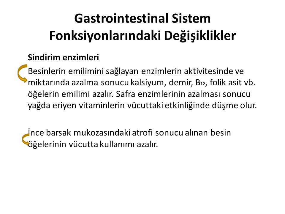 Gastrointestinal Sistem Fonksiyonlarındaki Değişiklikler