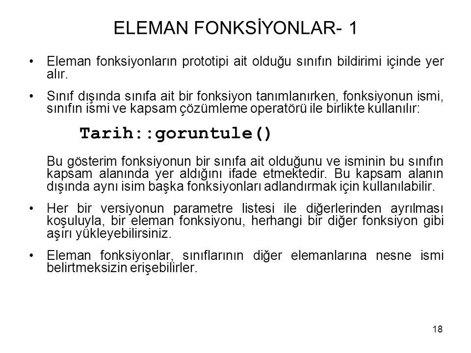 ELEMAN FONKSİYONLAR- 1 Eleman fonksiyonların prototipi ait olduğu sınıfın bildirimi içinde yer alır.