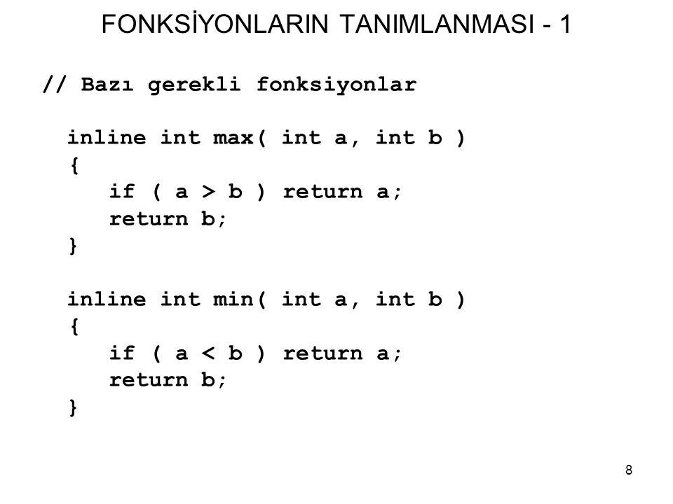 FONKSİYONLARIN TANIMLANMASI - 1