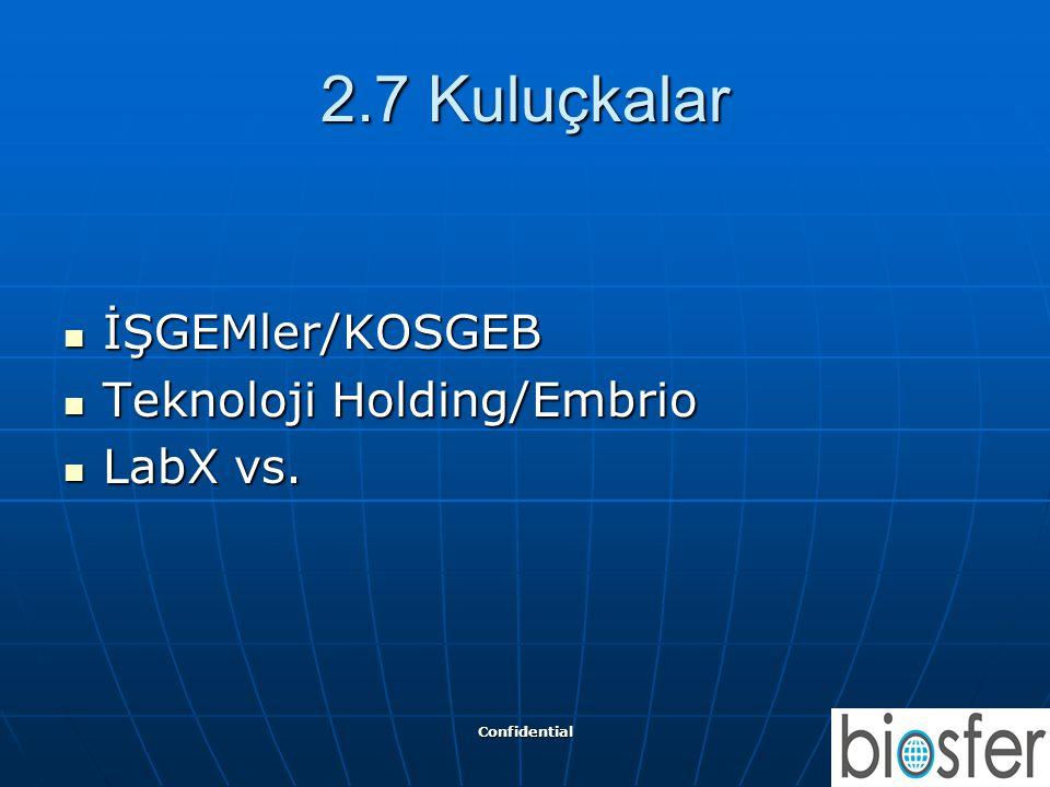 2.7 Kuluçkalar İŞGEMler/KOSGEB Teknoloji Holding/Embrio LabX vs.