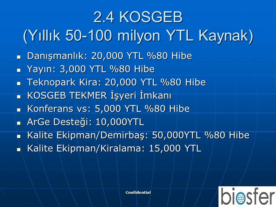 2.4 KOSGEB (Yıllık 50-100 milyon YTL Kaynak)