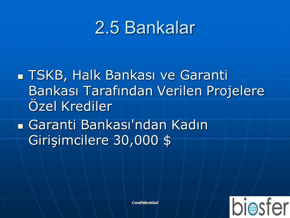 2.5 Bankalar TSKB, Halk Bankası ve Garanti Bankası Tarafından Verilen Projelere Özel Krediler. Garanti Bankası ndan Kadın Girişimcilere 30,000 $