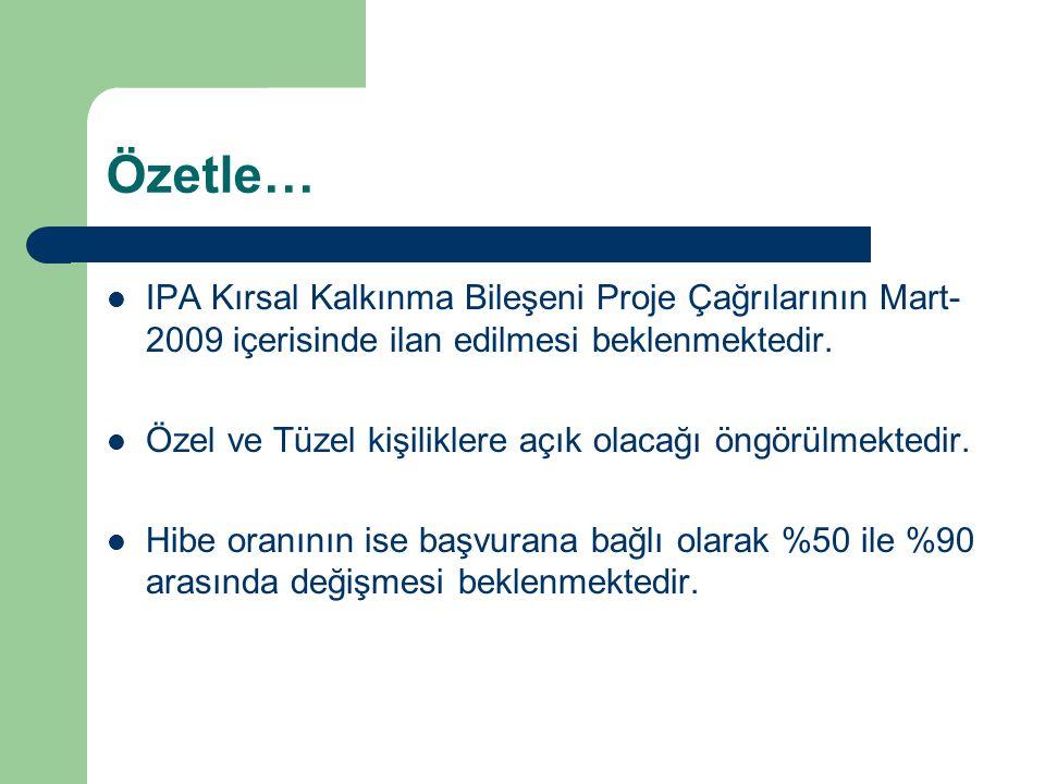 Özetle… IPA Kırsal Kalkınma Bileşeni Proje Çağrılarının Mart-2009 içerisinde ilan edilmesi beklenmektedir.