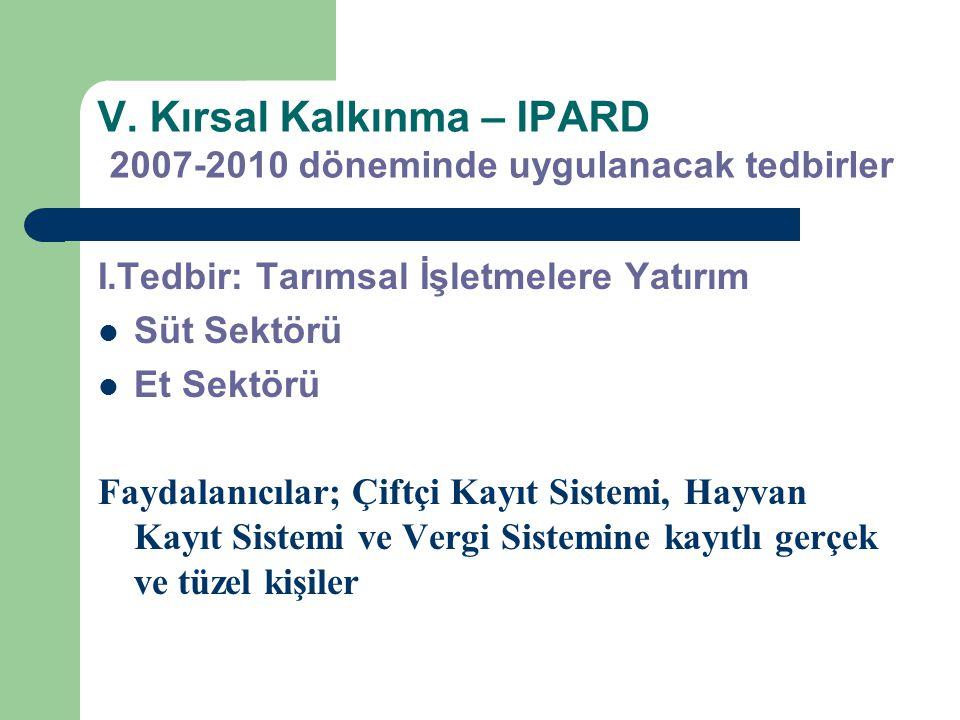 V. Kırsal Kalkınma – IPARD 2007-2010 döneminde uygulanacak tedbirler