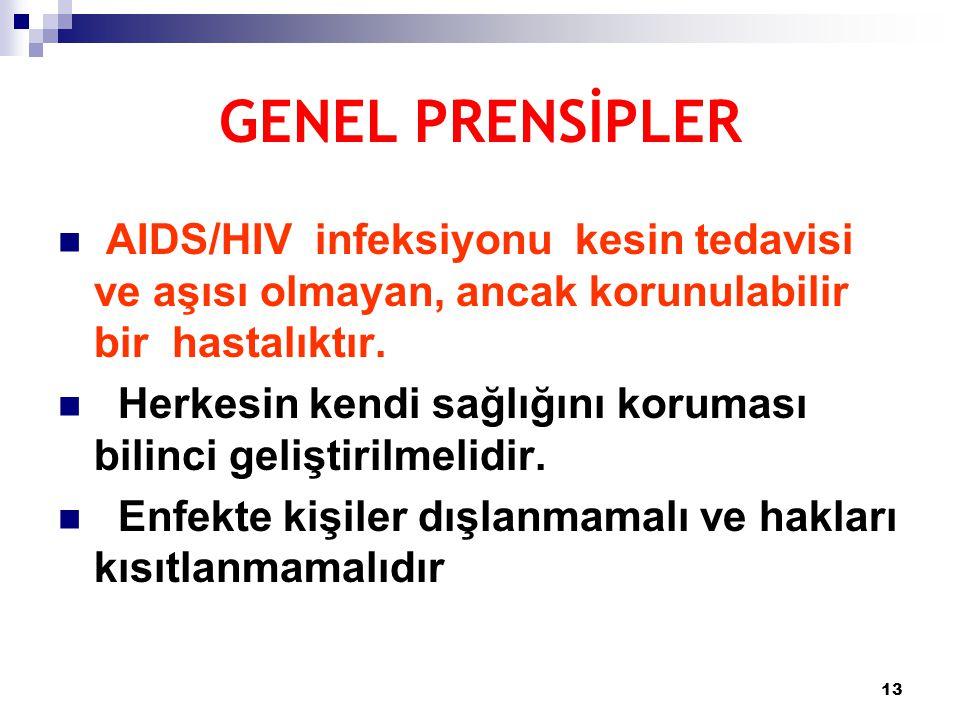 GENEL PRENSİPLER AIDS/HIV infeksiyonu kesin tedavisi ve aşısı olmayan, ancak korunulabilir bir hastalıktır.