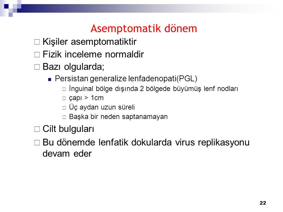 Asemptomatik dönem Kişiler asemptomatiktir Fizik inceleme normaldir