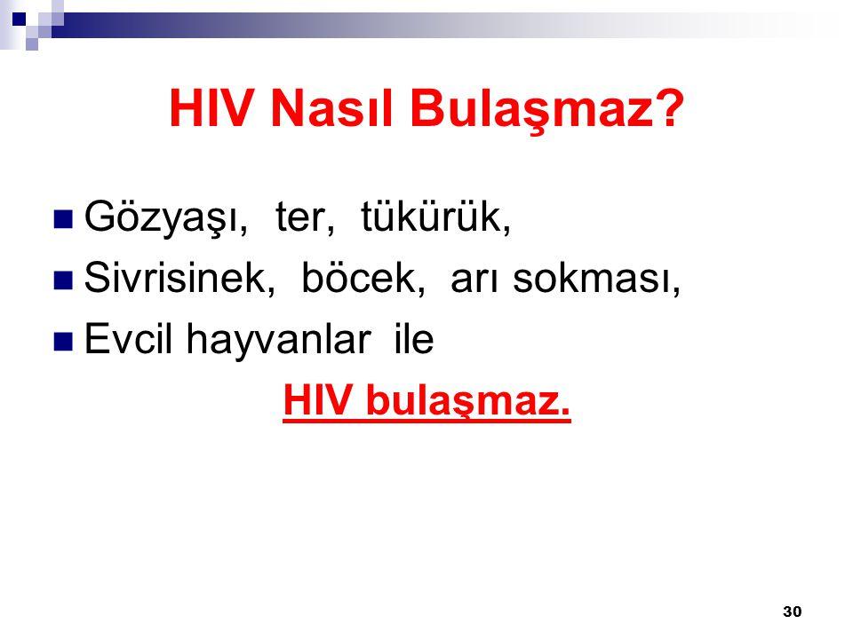 HIV Nasıl Bulaşmaz Gözyaşı, ter, tükürük,