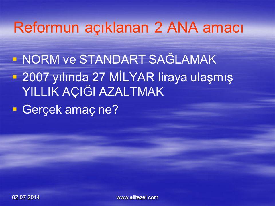 Reformun açıklanan 2 ANA amacı