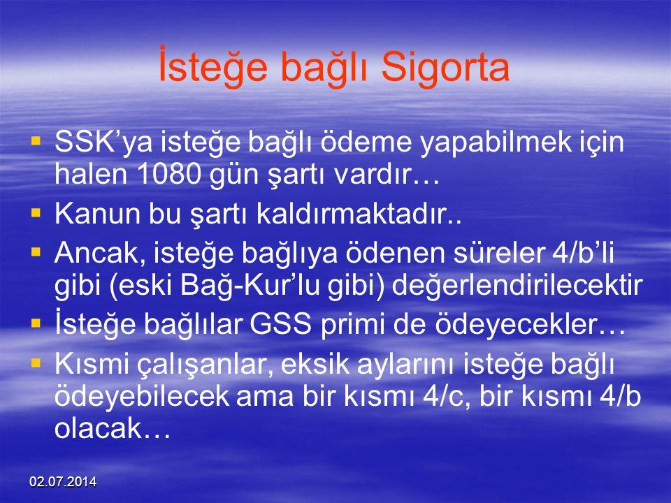 İsteğe bağlı Sigorta SSK'ya isteğe bağlı ödeme yapabilmek için halen 1080 gün şartı vardır… Kanun bu şartı kaldırmaktadır..
