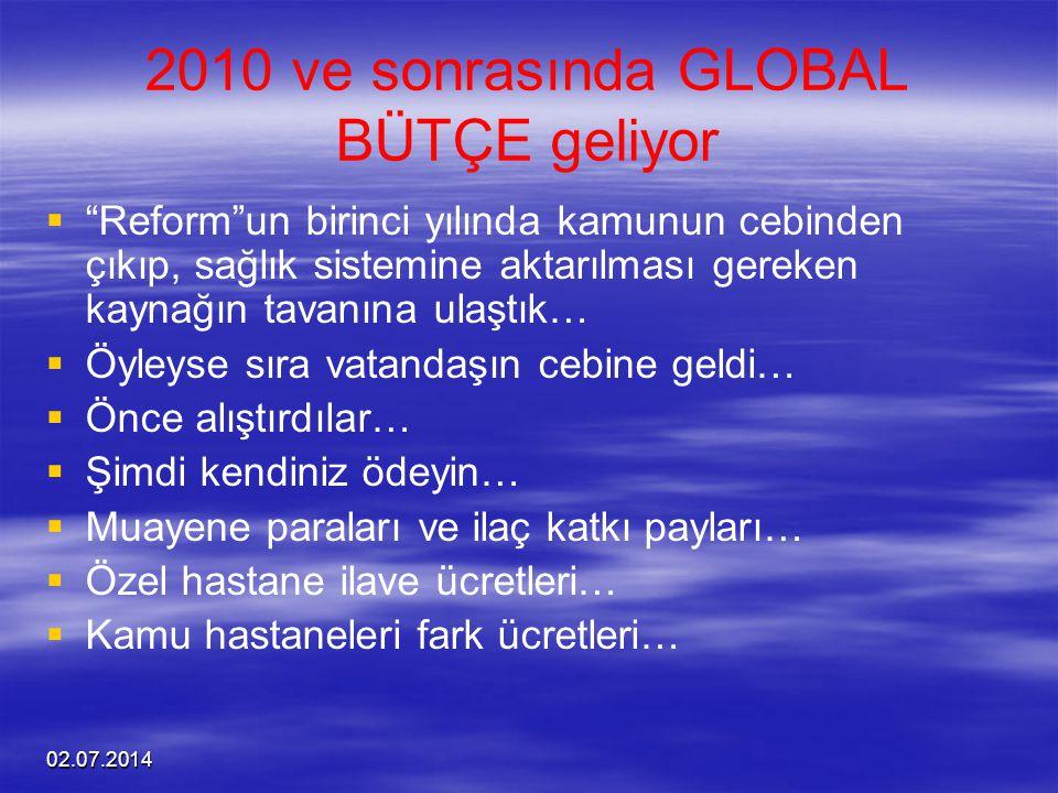 2010 ve sonrasında GLOBAL BÜTÇE geliyor