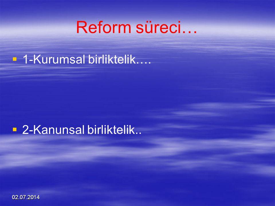 Reform süreci… 1-Kurumsal birliktelik…. 2-Kanunsal birliktelik..