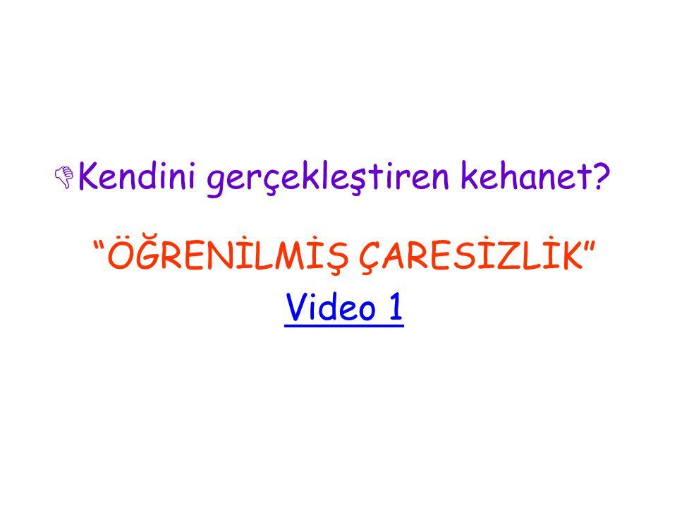 Kendini gerçekleştiren kehanet ÖĞRENİLMİŞ ÇARESİZLİK Video 1