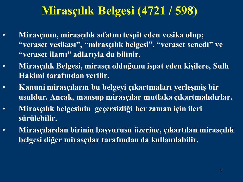 Mirasçılık Belgesi (4721 / 598)
