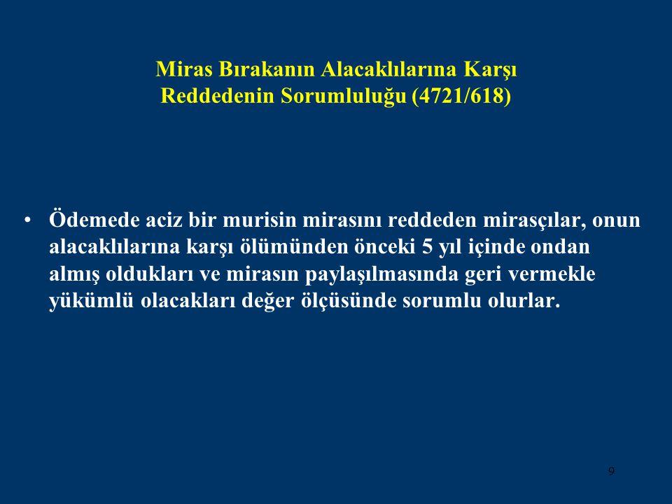 Miras Bırakanın Alacaklılarına Karşı Reddedenin Sorumluluğu (4721/618)