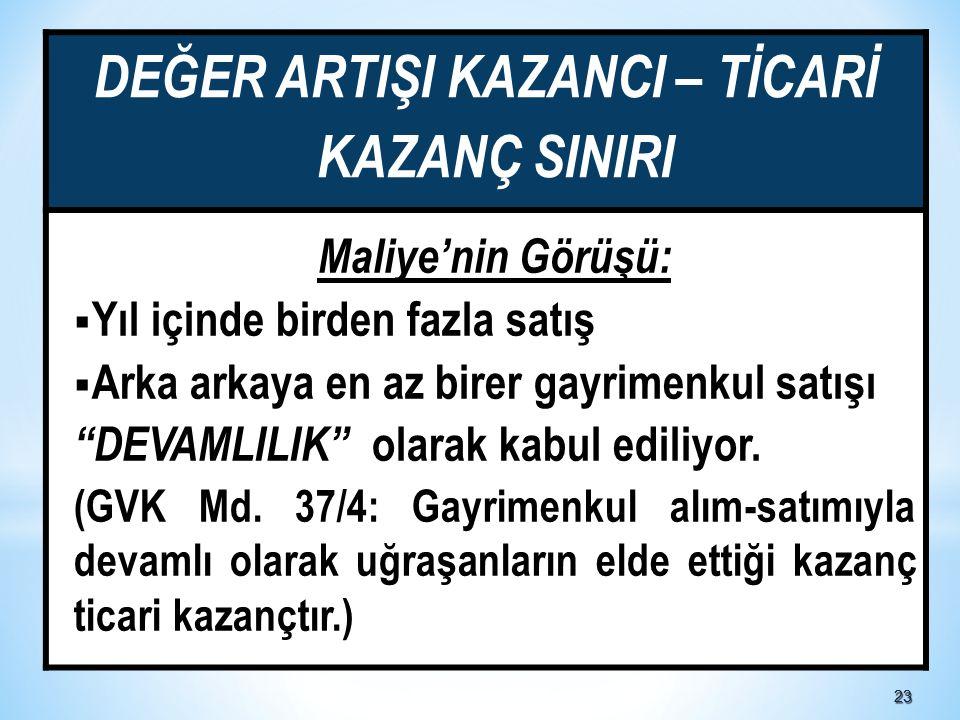 DEĞER ARTIŞI KAZANCI – TİCARİ KAZANÇ SINIRI