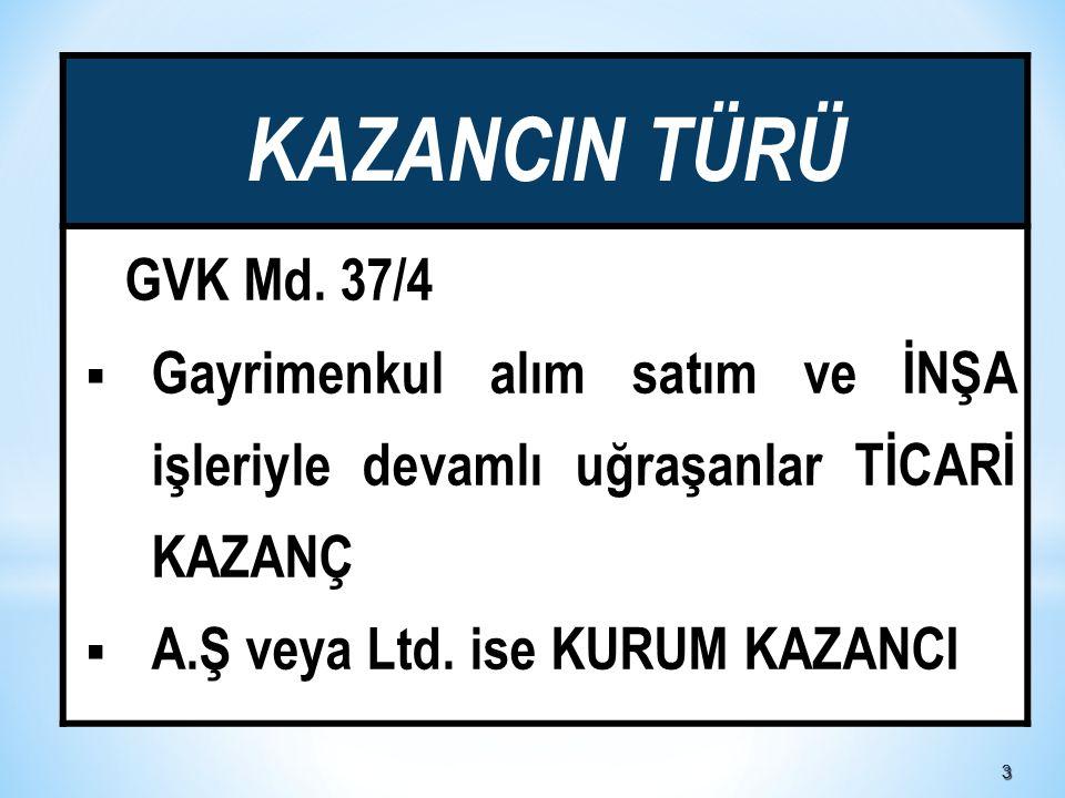 KAZANCIN TÜRÜ GVK Md. 37/4. Gayrimenkul alım satım ve İNŞA işleriyle devamlı uğraşanlar TİCARİ KAZANÇ.