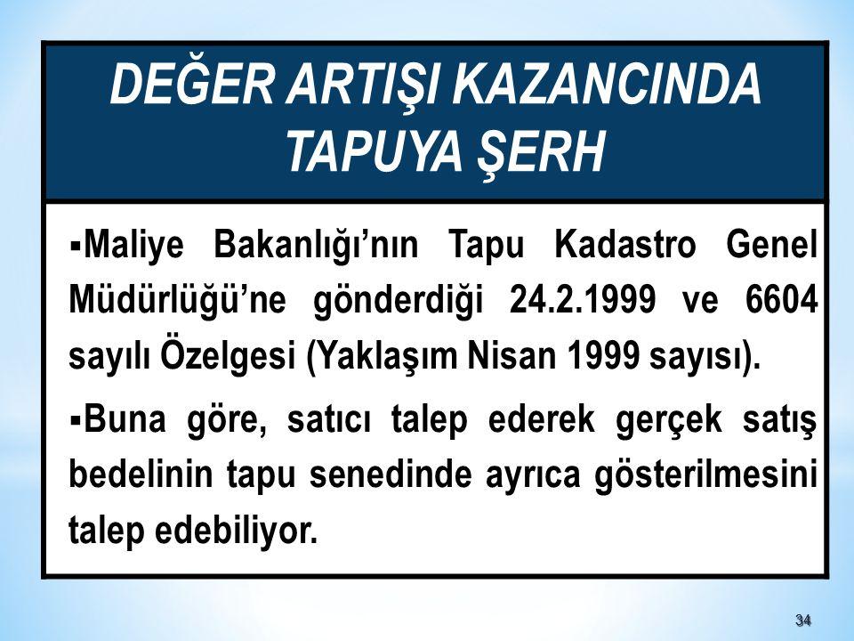 DEĞER ARTIŞI KAZANCINDA TAPUYA ŞERH