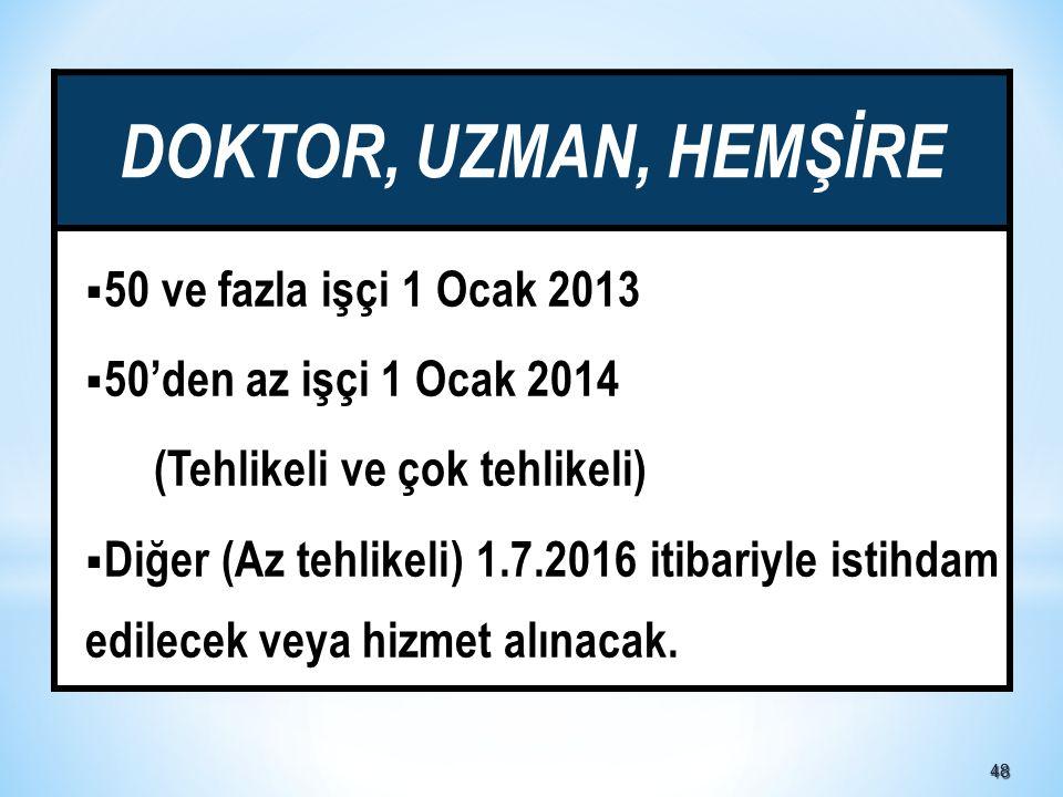 DOKTOR, UZMAN, HEMŞİRE 50 ve fazla işçi 1 Ocak 2013