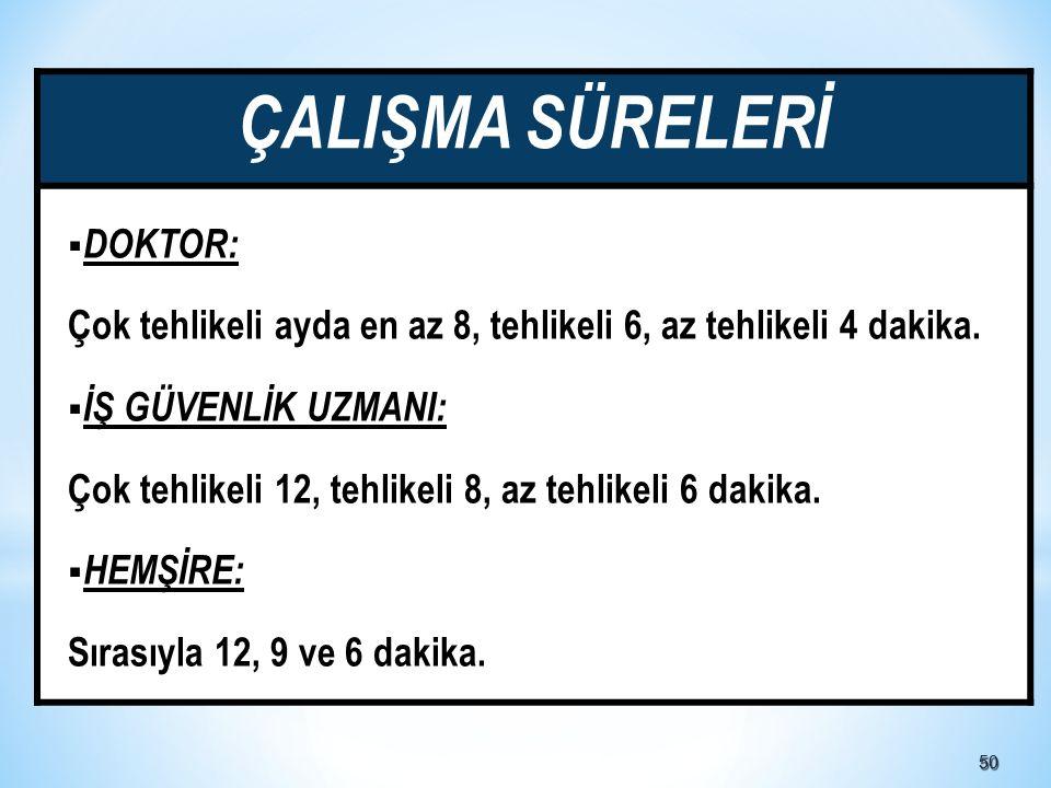 ÇALIŞMA SÜRELERİ DOKTOR:
