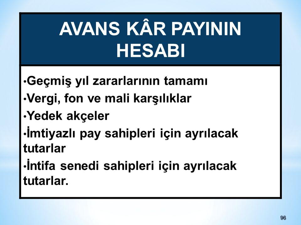 AVANS KÂR PAYININ HESABI