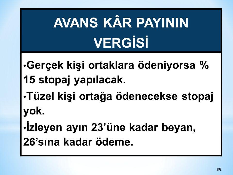 AVANS KÂR PAYININ VERGİSİ