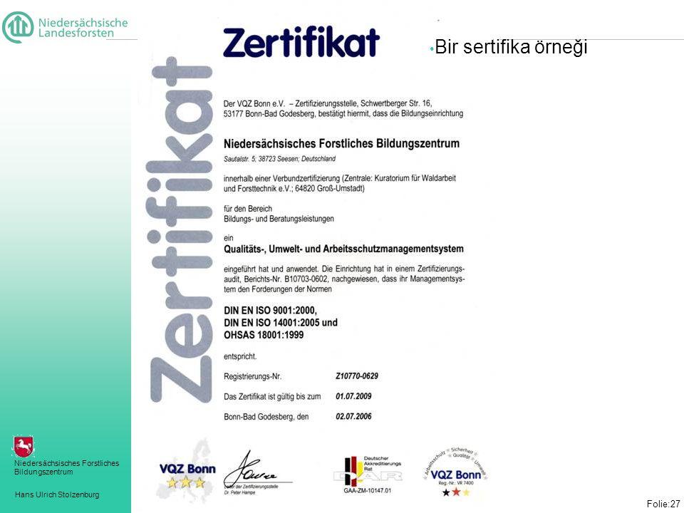Bir sertifika örneği Folie:27