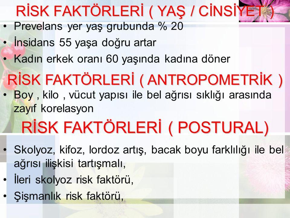 RİSK FAKTÖRLERİ ( YAŞ / CİNSİYET )