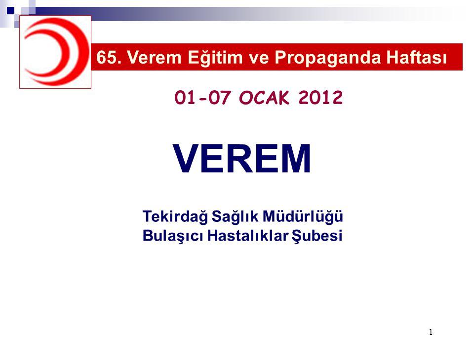 VEREM Tekirdağ Sağlık Müdürlüğü Bulaşıcı Hastalıklar Şubesi