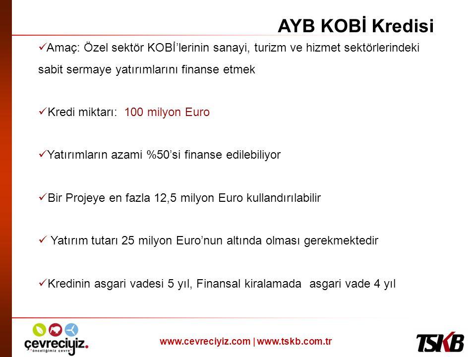 AYB KOBİ Kredisi Amaç: Özel sektör KOBİ'lerinin sanayi, turizm ve hizmet sektörlerindeki sabit sermaye yatırımlarını finanse etmek.