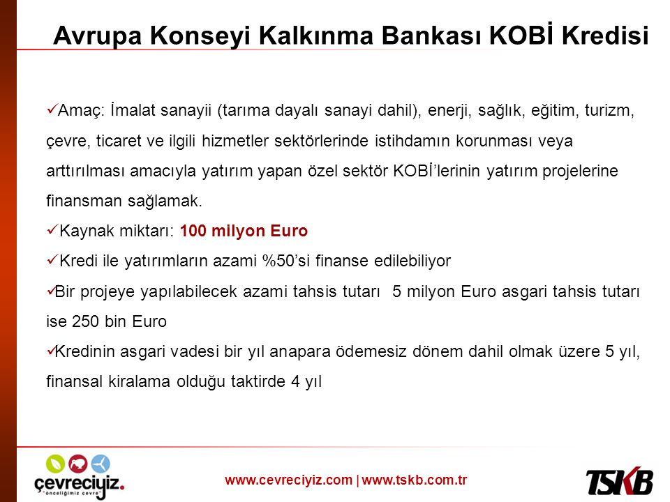 Avrupa Konseyi Kalkınma Bankası KOBİ Kredisi