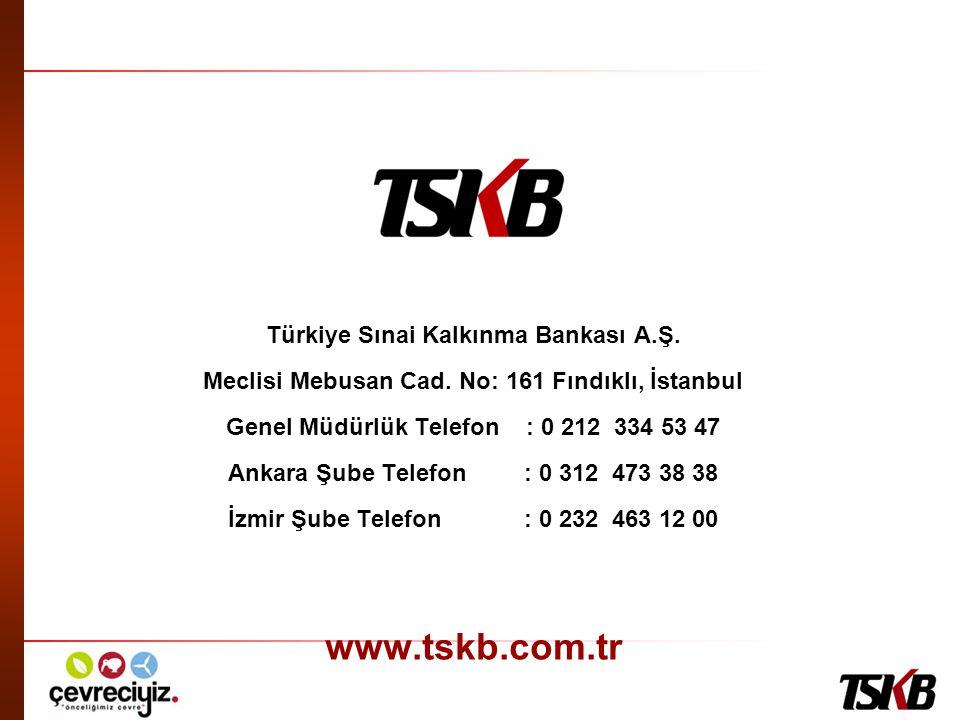 www.tskb.com.tr Türkiye Sınai Kalkınma Bankası A.Ş.