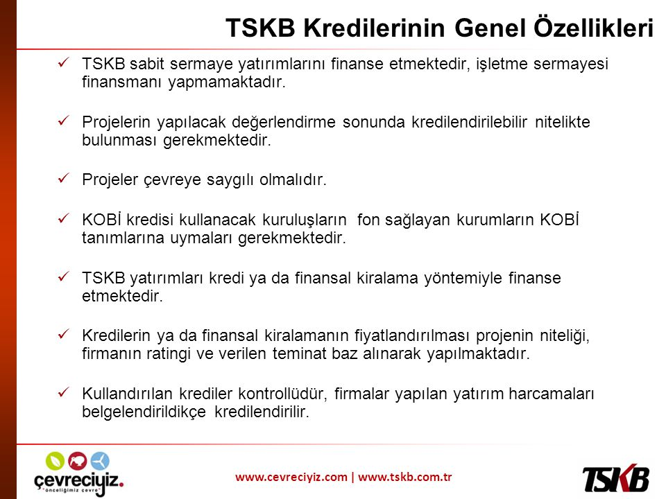 TSKB Kredilerinin Genel Özellikleri