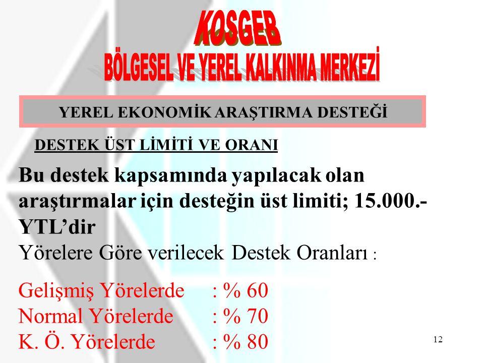YEREL EKONOMİK ARAŞTIRMA DESTEĞİ DESTEK ÜST LİMİTİ VE ORANI