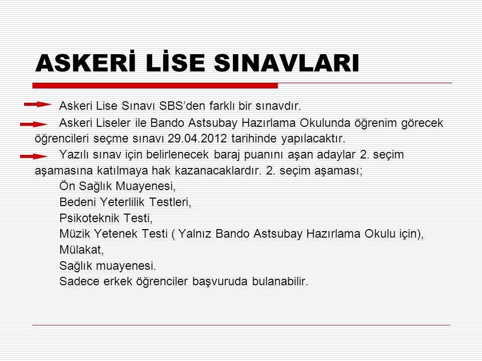 ASKERİ LİSE SINAVLARI Askeri Lise Sınavı SBS'den farklı bir sınavdır.
