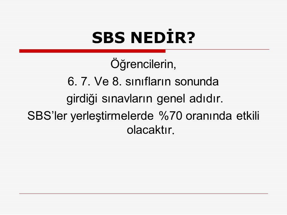 SBS NEDİR Öğrencilerin, 6. 7. Ve 8. sınıfların sonunda