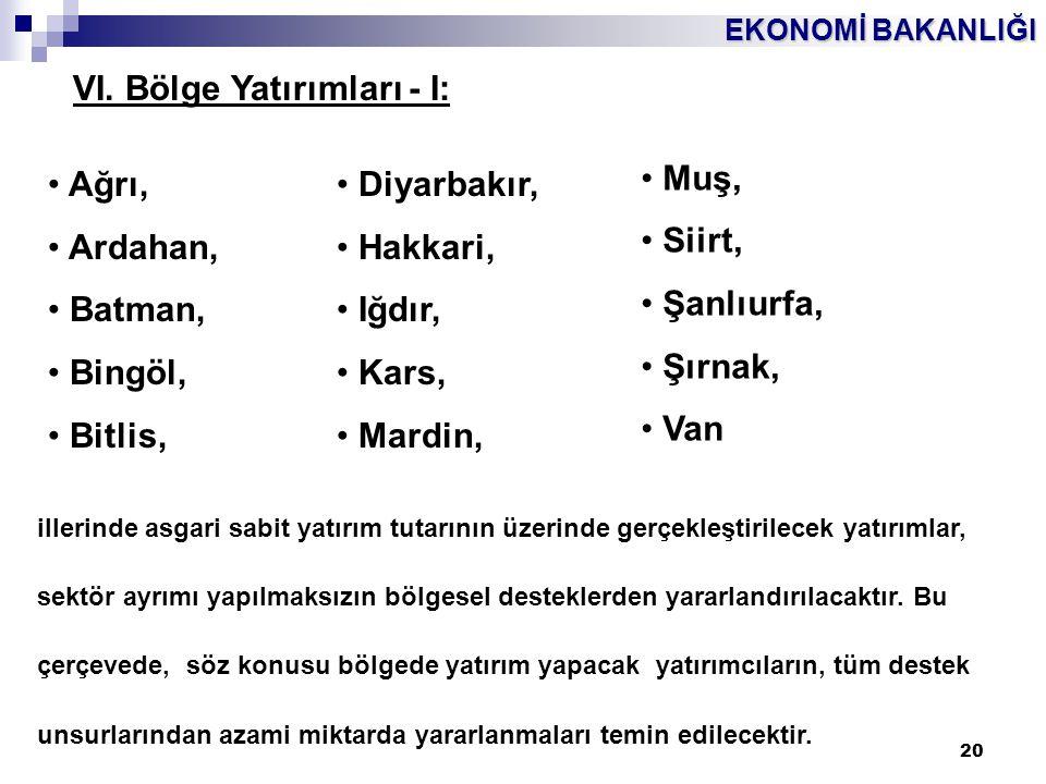 VI. Bölge Yatırımları - I: Muş, Siirt, Şanlıurfa, Şırnak, Van Ağrı,
