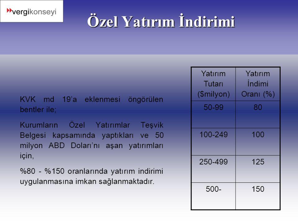 Özel Yatırım İndirimi Yatırım Tutarı ($milyon)